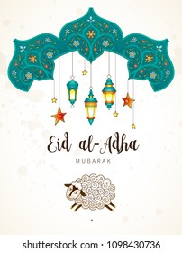Vector muslim holiday Eid al-Adha card. Banner with sheep, calligraphy, moon for happy sacrifice celebration. Islamic greeting illustration. Traditional holiday. Decoration in Eastern style.