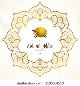 Vector muslim holiday Eid al-Adha card. Banner with golden frame, sheep, calligraphy for happy sacrifice celebration. Islamic greeting illustration. Traditional holiday. Decoration in Eastern style.