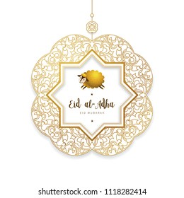 Vector muslim holiday Eid al-Adha card. Banner with sheep, golden frame, calligraphy for happy sacrifice celebration. Islamic greeting illustration. Traditional holiday. Decoration in Eastern style.