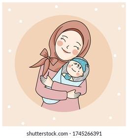 vector Muslim mom hugs baby, hijab mom holds baby, close up mom with cute baby boy