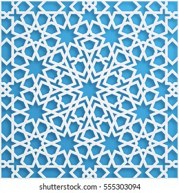 Vector muslim mosaic, persian motif. Mosque decoration element. Islamic geometric pattern. Elegant white oriental ornament, traditional arabic art. 3D illustration for brochures, greeting card.