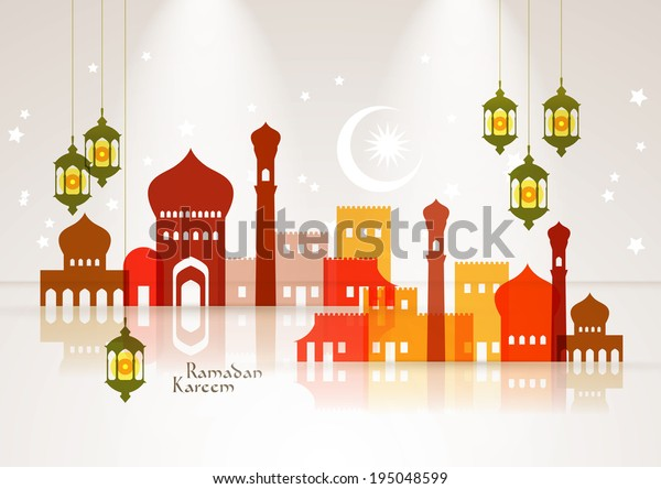 Vector Muslim Mosque and Oil Lamp Graphics. Translation: Ramadan Kareem - May Generosity Bless You During The Holy Month.