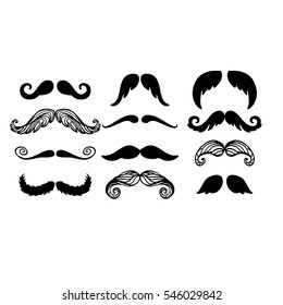 Vector mustache silhouette isolated
