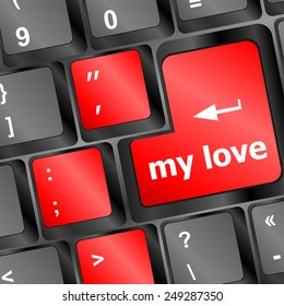 vector my love on key or keyboard showing internet dating concept