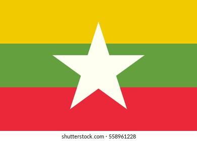 Vector Myanmar flag