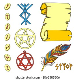 Vector mystic magic esoteric symbols sketch hand drawn religion philosophy spirituality magical occultism chemistry science illustration