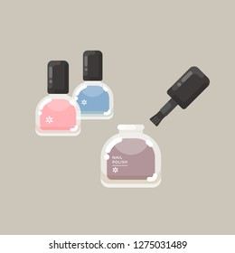 vector nail polish bottle with brush, colorful gel lacquer / manicure concept / modern, elegant colors / isolated, sign and icon template