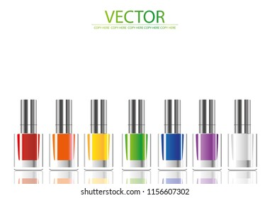 vector nail polish in glass bottle on white background