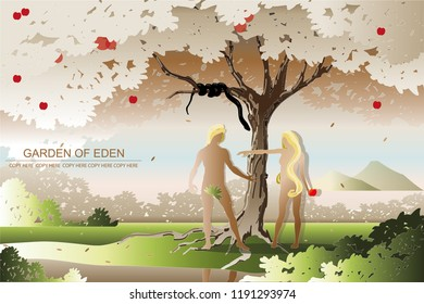 vector naked man and woman stand under the tree.eden garden.eve and adam.first couple.