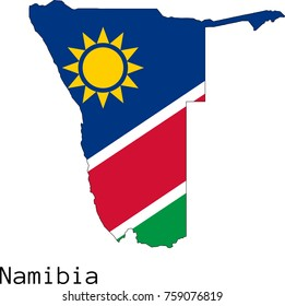 Vector Namibia  map silhouette, painted in colors of a national flag