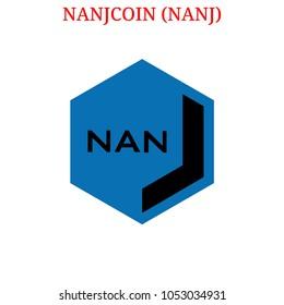 Vector NANJCOIN (NANJ) digital cryptocurrency logo. NANJCOIN (NANJ) icon. Vector illustration isolated on white background.