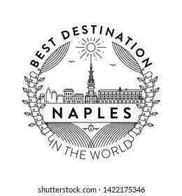 Vector Naples City Badge, Linear Style