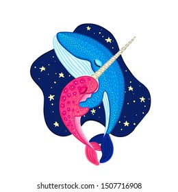 Vector narwhal and blue whale are hugging and dancing. Cute cartoon character. Colorful marine life. Design for attributes of water park and aquarium. Print on clothes, covers, posters. Sticker, label