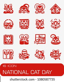 Vector National Cat Day icon set