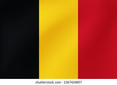 Vector national flag of Belgium. Beautiful illustration with wavy texture.