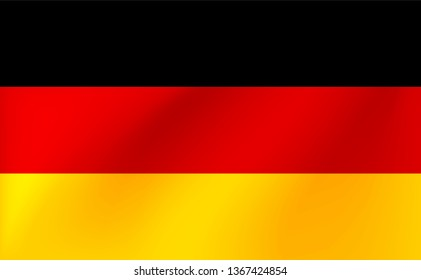 Vector national flag of Germany. Beautiful illustration with wavy texture.