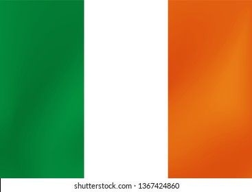 Vector national flag of Ireland. Beautiful illustration with wavy texture.