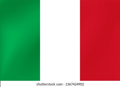 Vector national flag of Italy. Beautiful illustration with wavy texture.