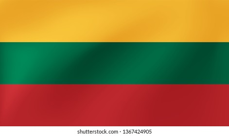 Vector national flag of Lithunia. Beautiful illustration with wavy texture.