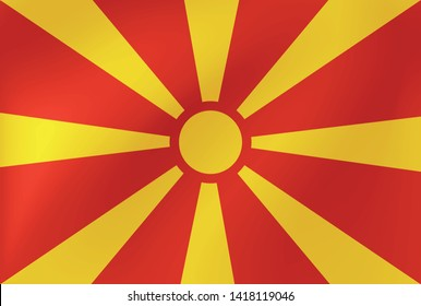 Vector national flag of Macedonia - Illustration for sports competition, traditional or state events.