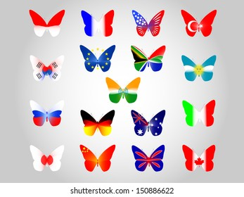vector national flags on butterfly