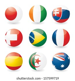 Vector national flags on spheres.