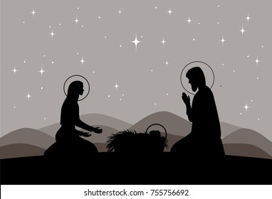 Vector nativity scene. Mary, Jesus, and Joseph silhouettes and mountains landscape