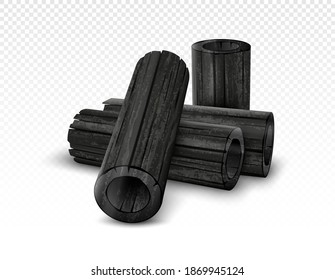 Vector natural bamboo charcoal isolated on transparent background. Realistic pieces charcoal.