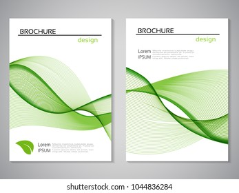Vector natural brochure, design of nature, bio flyer with abstract wave design. Layout template with leaf. For A4 size. Eco poster of green and white color. Magazine cover.