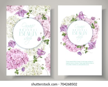 Vector natural cosmetic banners with hydrangea and bell flowers on white background. Floral design for cosmetics, perfume, beauty care products. Can be used as greeting card, wedding illustration