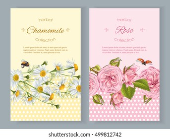 Vector natural cosmetics vertical banners with flowers. Design for natural cosmetics,florist shop , beauty salon, natural and organic products, health care products, aromatherapy. With place for text