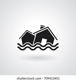 Vector natural disaster. Flood icon