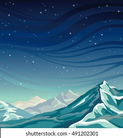 Vector natural illustration with snow mountains on a night starry sky. Seascape image.