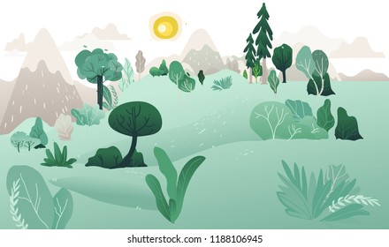 Vector natural landscape background with green grass, abstract trees, plants mountains and grey in sky with bright yellow sun. Summer countryside scenery, outdoor backdrop template.