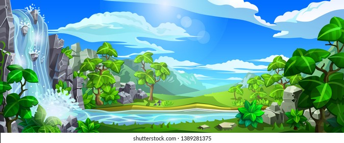 Vector natural landscape. Waterfall with a river among green hills and mountains. Panorama for background design.