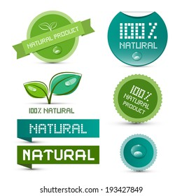 Vector Natural Product Green Labels - Tags - Stickers Set