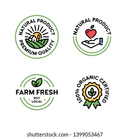 Vector natural product icon label set. Line premium quality logo badges with green leaves. 100 percent organic certified. Farm fresh, buy local. Eco bio food emblems for farmers market, healthy goods