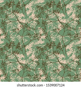 Vector natural silhouettes botanical seamless pattern. Stylish artistic creative background. Feminine abstract apparel print and gift wrapping paper .