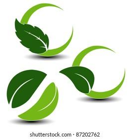 Vector natural symbols with leaf - set 1