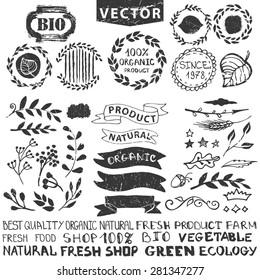 Vector nature bio  logo template.Badges,labels,floral elements,wreaths and laurels.Organic,natural design .Hand drawing Vintage silhouette vector,ink sketch.Logotype maker,lettering.