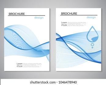 Vector nature brochure, design of water, blue white flyer, abstract wave design with water drop. Layout template for A4 size. Poster with pure line design. Magazine, book cover.