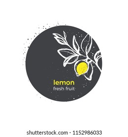 Vector nature design Lemon, tree, branch, leaves, yellow tropical fruit on white background. Botanical hand drawn sticker. Organic logo in circle. Round symbol. Sketch illustration Bio fresh product