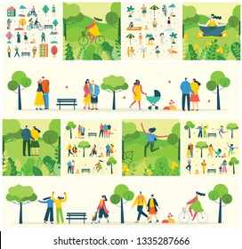 Vector Nature ECO background with different people, couple doing activities, walking and have a rest outdoor, in the forest and park in the flat style