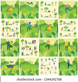 Vector Nature ECO background with different people, couple doing activities, sports, yoga,  walking and have a rest outdoor, in the forest and park in the flat style