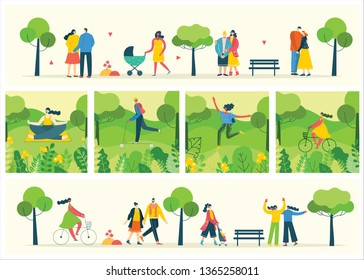 Vector Nature ECO backgrounds with girls and boys run and jump and has a rest outdoor, in the forest and park in the flat style