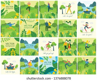 Vector Nature ECO backgrounds with girls and boys run and jump, do sports and yoga and has a rest outdoor, in the forest and park in the flat style