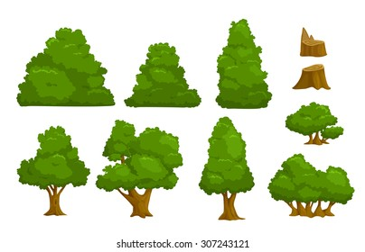 Vector nature elements set, isolated cartoon trees and bushes