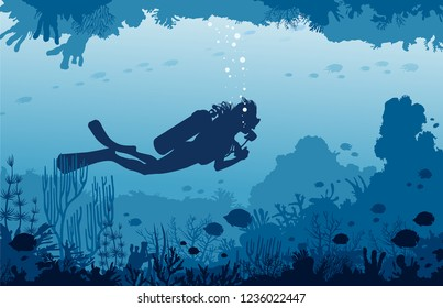 Vector nature illustration with underwater marine wildlife. Silhouette of scuba diver swims in the underwater cave near the coral reef and tropical fishes. Water sport.