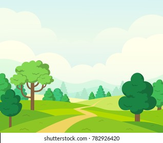 Vector nature landscape background. Cute simple cartoon style