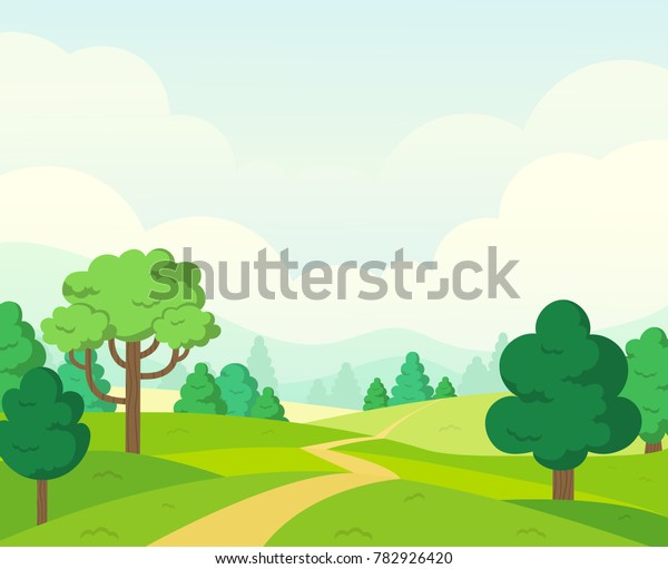 Vector Nature Landscape Background Cute Simple Stock Vector Royalty Free 782926420